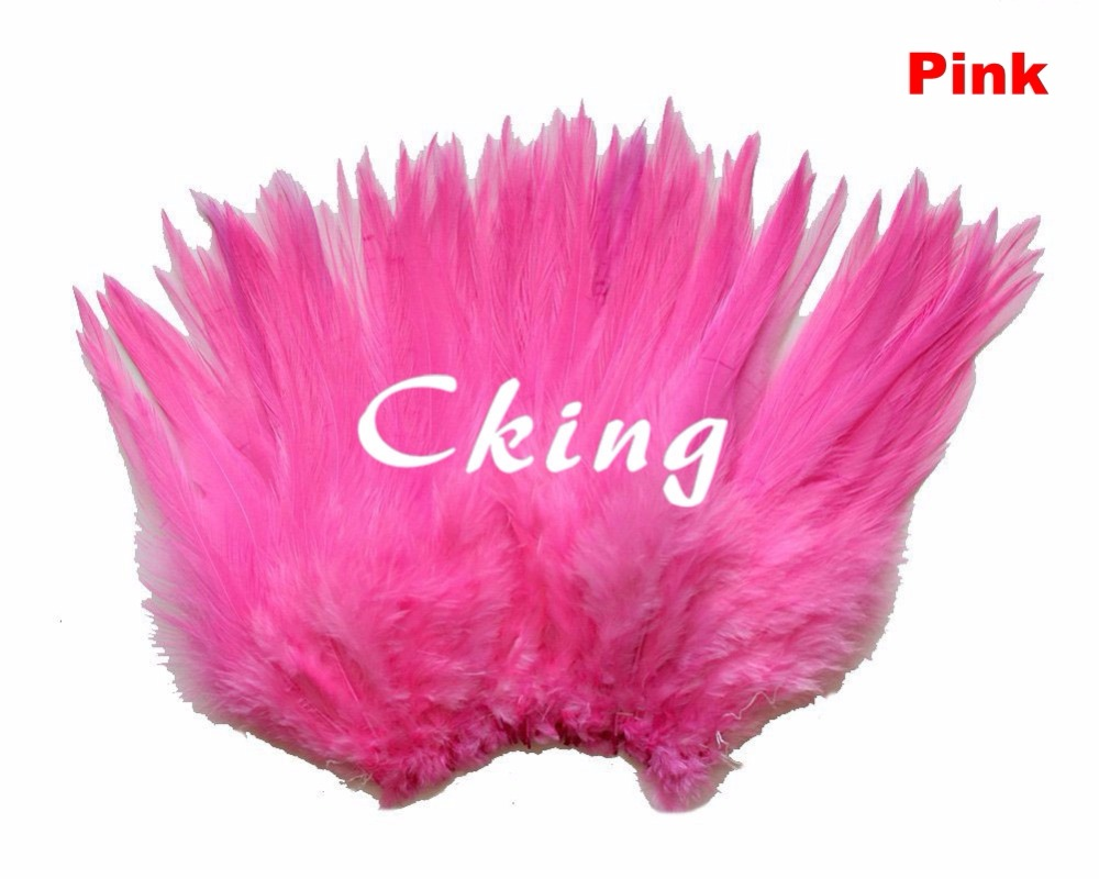 Wholesale 1kgs beautiful pink neck rooster feathers 12 15 cm / 5 to 6 inches rooster saddle feather rolls strungs