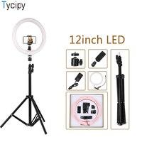Efluky Ring Light 12 Dimmable LED Photography Selfie Soft Light 24W Photo Camera Video Phone Clip 1.1m Tripod EU/US/AU/UK Plug