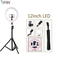 Tycipy Ring Light 12 Dimmable LED Photography Selfie Soft Light 24W Photo Camera Video Phone Clip 1.1m Tripod EU/US/AU/UK Plug