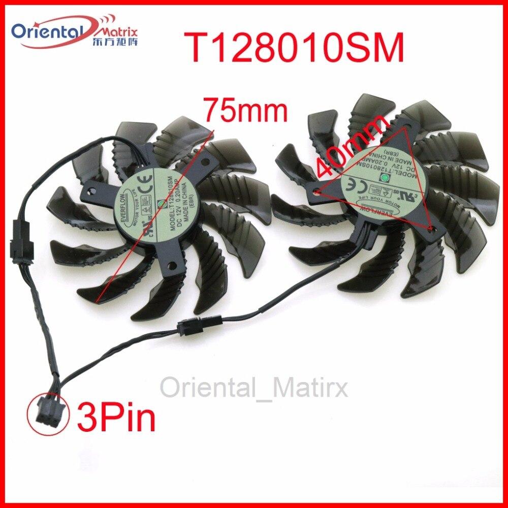 Envío libre T128010SM 12 V 0.20A 75mm ventilador 40*40*40mm 3Pin 2Pin para gigabyte gráficos ventilador de refrigeración