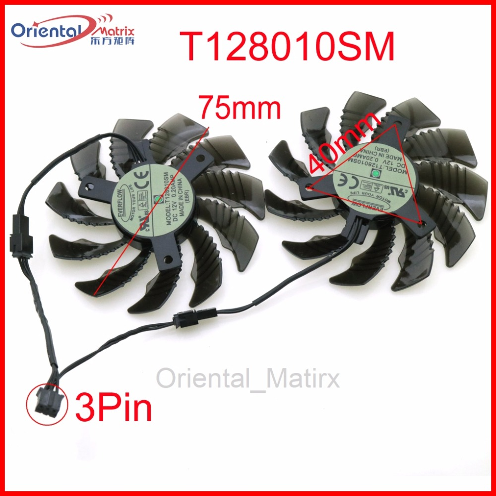 Free Shipping T128010SM 12V 0.20A 75mm Fan 40*40*40mm 3Pin 2Pin For Gigabyte Graphics Card Cooling Fan free shipping 3pcs lot t128010sm 5pin for gigabyte gtx460 gtx470 gtx580 gtx 670 hd5870 graphics card fan