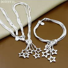 цена 925 Sterling Silver Bracelet Necklace Jewelry Set Fashion Jewelry Set Tai Chi Five Stars Bracelet Necklace For Women онлайн в 2017 году
