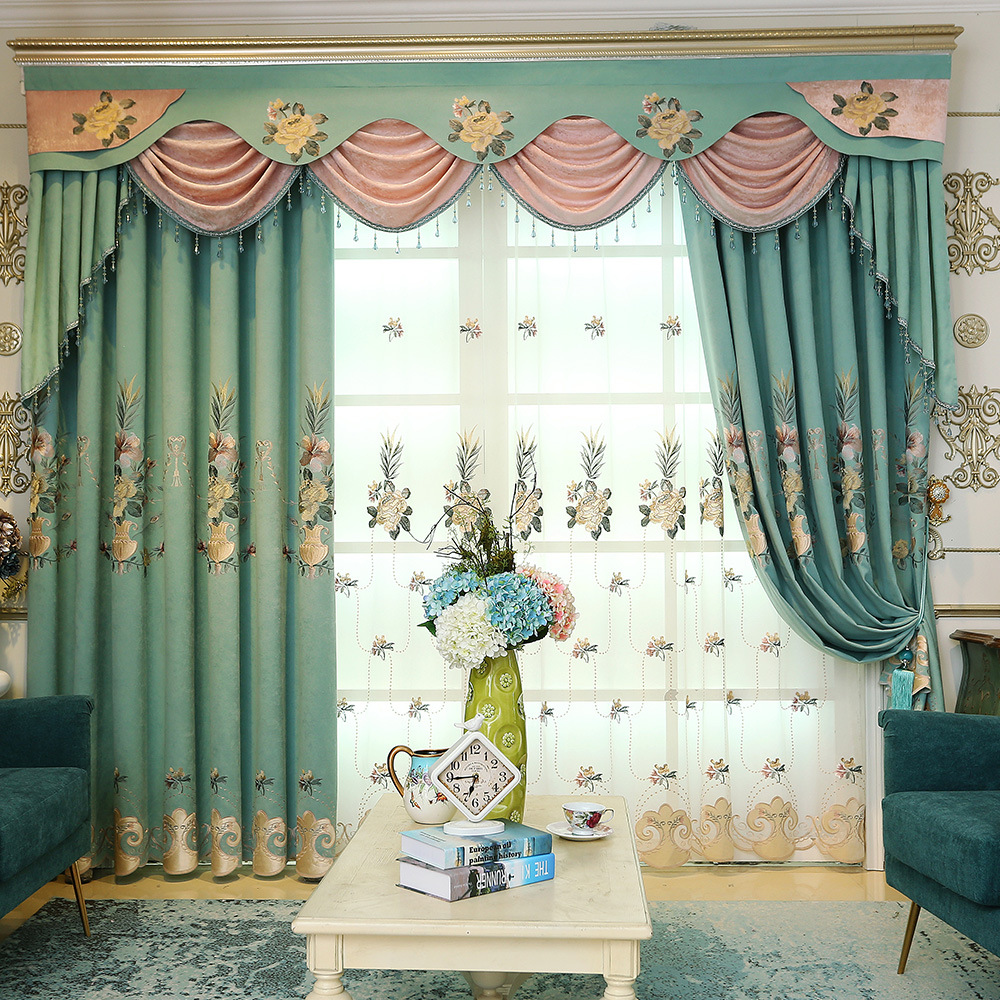 Nordic-Chenille-Jacquard-Blackout-Curtains-Window-For-living-Room-Bedroom-Tulle-Curtains-Drapes-Flower-Pattern