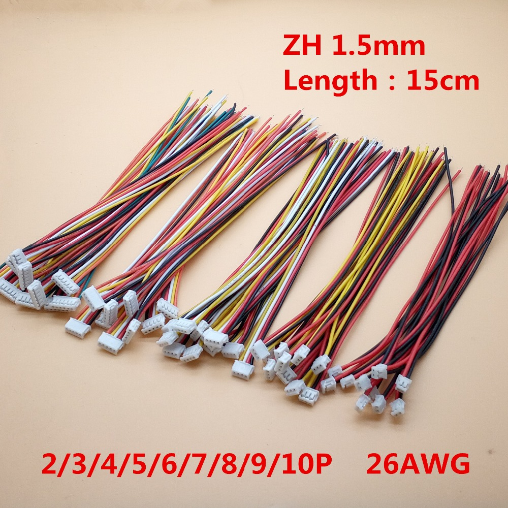 10Pcs Length 150mm Mini Micro ZH 1.5mm 2/3/4/5/6/7/8/9/10 Pin JST Connector Single Plug With Wires Cables 15cm