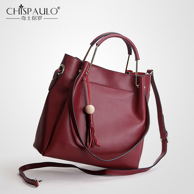 2 Set Genuine Leather Bags Handbags Women Famous Brands Big Shoulder Bag Luxury Handbags Tassel Bag Designer Vintage Casual Tote red fox платье foxy team с капюшоном детское 146 1100 бордовый