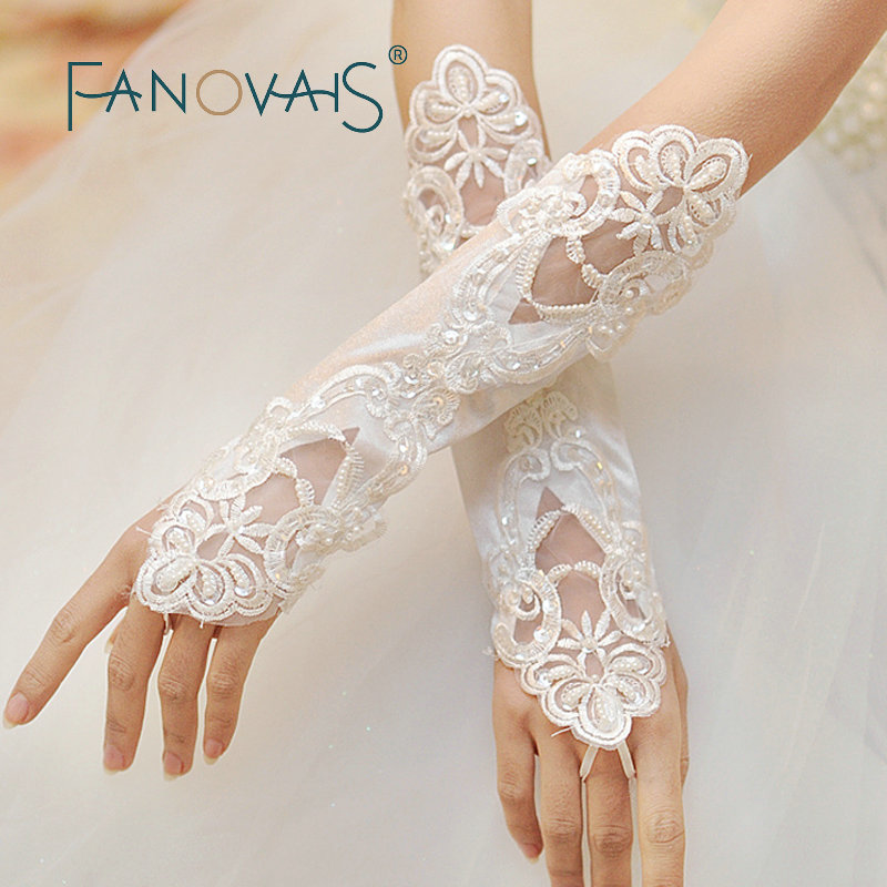 New Arrival Real Pictures Elbow Length Wedding Gloves Fingerless Pearls Beaded Bridal Gloves