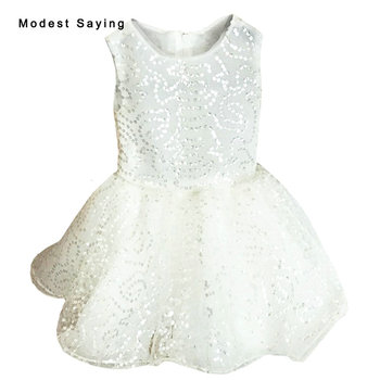 Lovely Ivory Ball Gown Beaded Flower Girl Dresses 2017 Knee Length Puffy Kid Children Girl Pageant Dresses Custom Made BF123