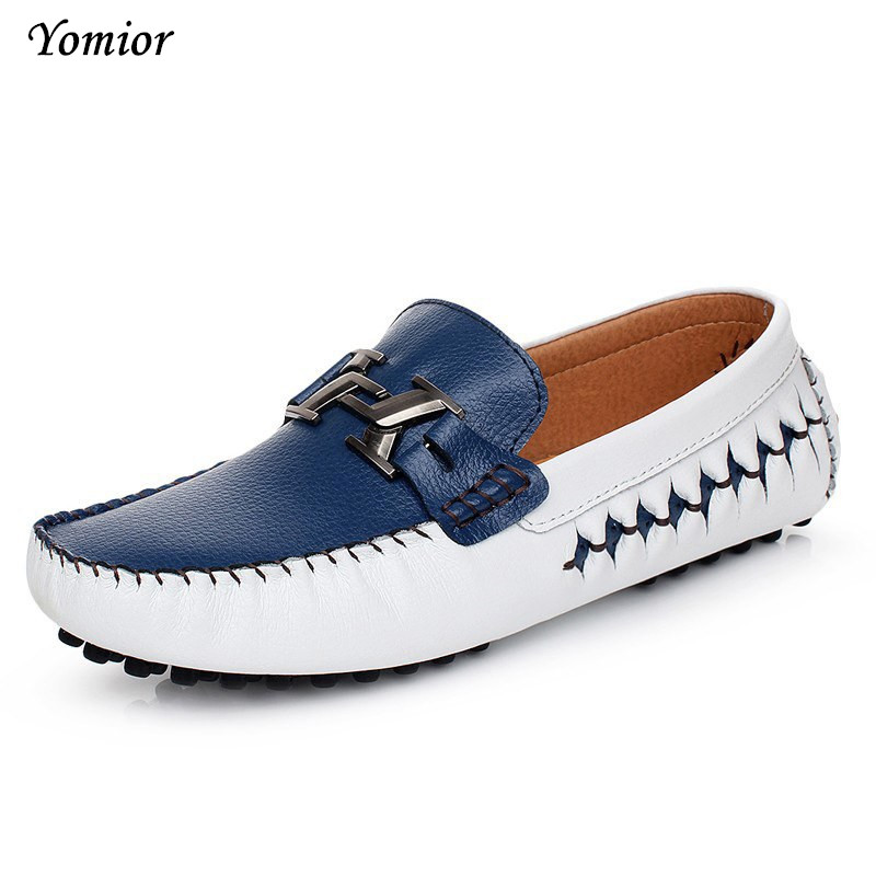 Yomior Spring Autumn Causal Shoes Men Loafers High Quality Genuine Leather Soft Moccasins Driving Shoe Man Business Flat shoes summer causal shoes men loafers genuine leather moccasins men driving shoes high quality flats for man