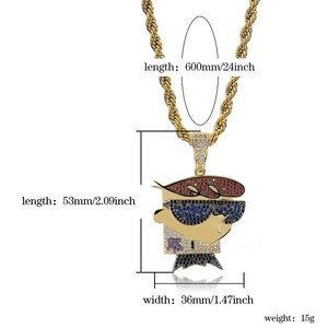 Image 5 - TOPGRILLZ collar con colgante de circonia cúbica para hombre, cadena de zirconia cúbica, abalorios de Color plateado dorado estilo Hip Hop Punk, para fiesta