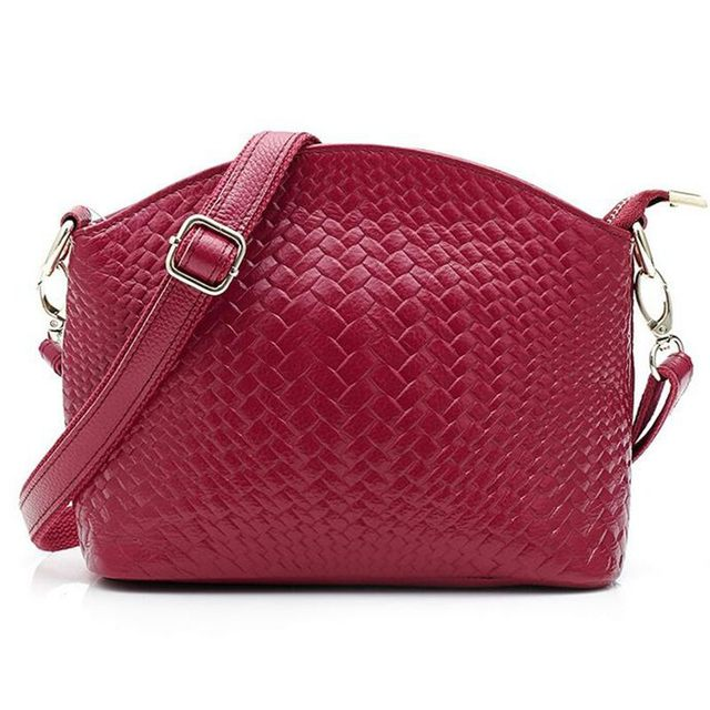 Genuine Leather Women Messenger Bag Woven Pattern Bag 100% Cowhide Crossbody Bags For Women's Shoulder Bag Handbag QT-300