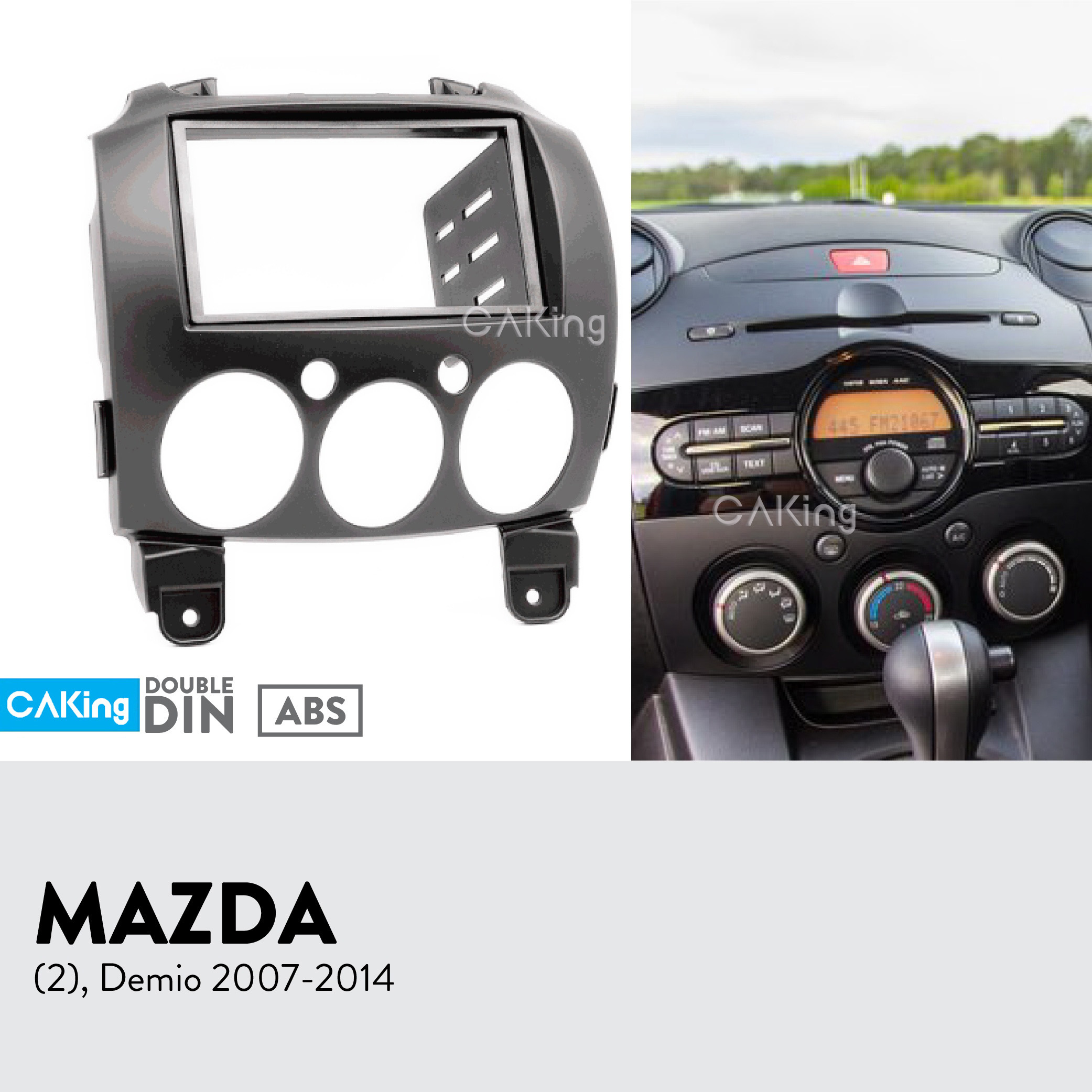 Double Din Car Fascia Radio Panel for Mazda 2 Demio 2007 2014 Dash Fitting Kit Install