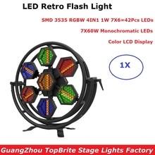 Light Music 7X60W Retro Flash Light With 42Pcs RGBW 4IN1 DMX Stage Lighting Effect Dj Wash Light DMX LED Strobe Light Party Club