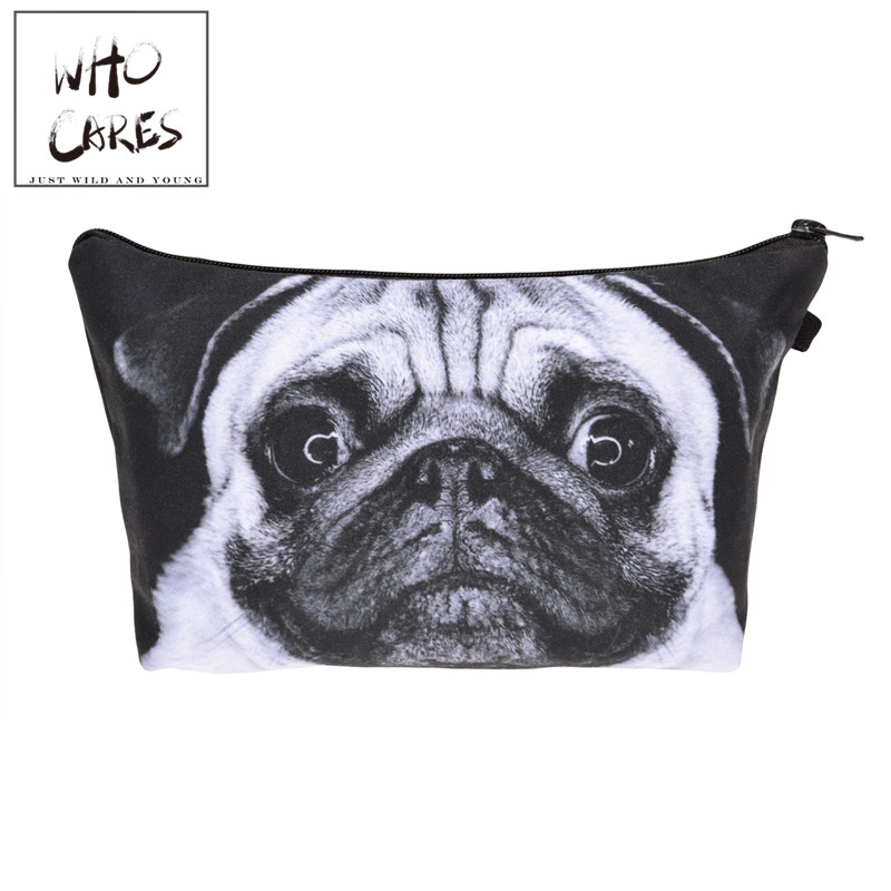 Pug dog 3D printing Pencil bags cosmetic bag organizer 2018 Fashion New makeup bag trousse de maquillage necessaire women pouch unicorn 3d printing fashion makeup bag maleta de maquiagem cosmetic bag necessaire bags organizer party neceser maquillaje