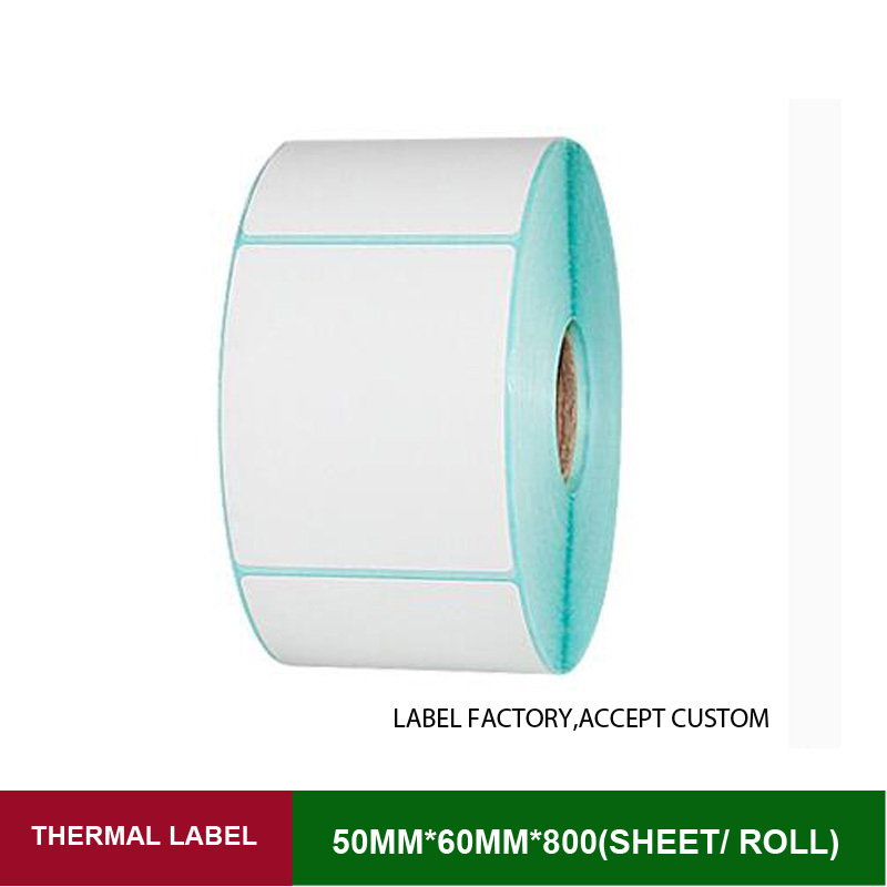 Thermal adhesive stickers 50*60mm label paper rolls printed 800 sheets of rolling papers for price tag with barcode and shipping