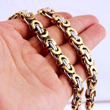 c0d0f1aedf34 6 8 11mm joyería 316L Acero inoxidable collar o pulsera hombres mujeres plata  oro bizantina plana cadena 7-40