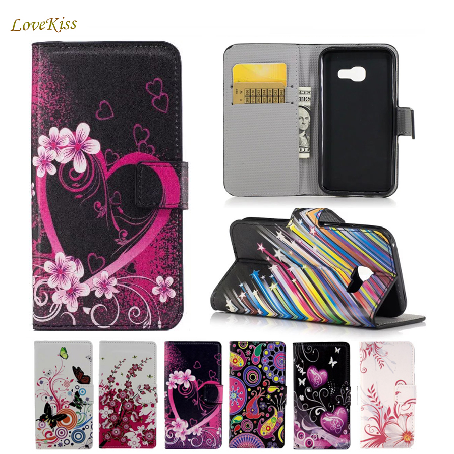 Leather Wallet Case For <font><b>Samsung</b></font> <font><b>Galaxy</b></font> <font><b>Ace</b></font> <font><b>4</b></font> LTE G313H <font><b>SM</b></font>-G313F <font><b>Neo</b></font> DUOS <font><b>SM</b></font>-<font><b>G318H</b></font> V Plus G318 Phone Cases Back Cover Flower Bag image