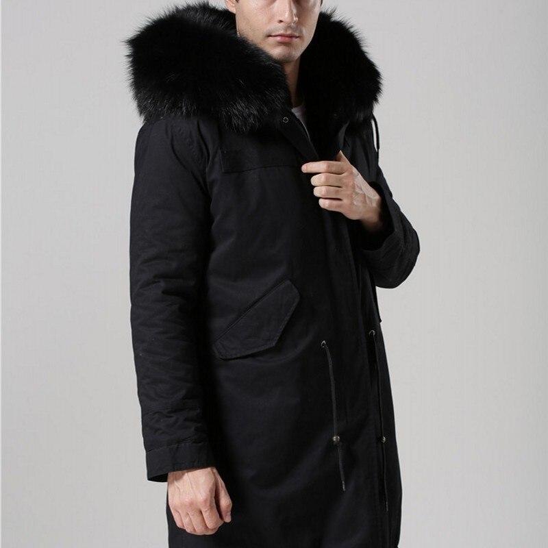2019 neue Schwarz Echtpelz Kragen Mit Kapuze Herren Parka Verdicken Warme Pelz Futter Winter Mantel Lange Jacken Männer Große Größe s 4XL Mäntel