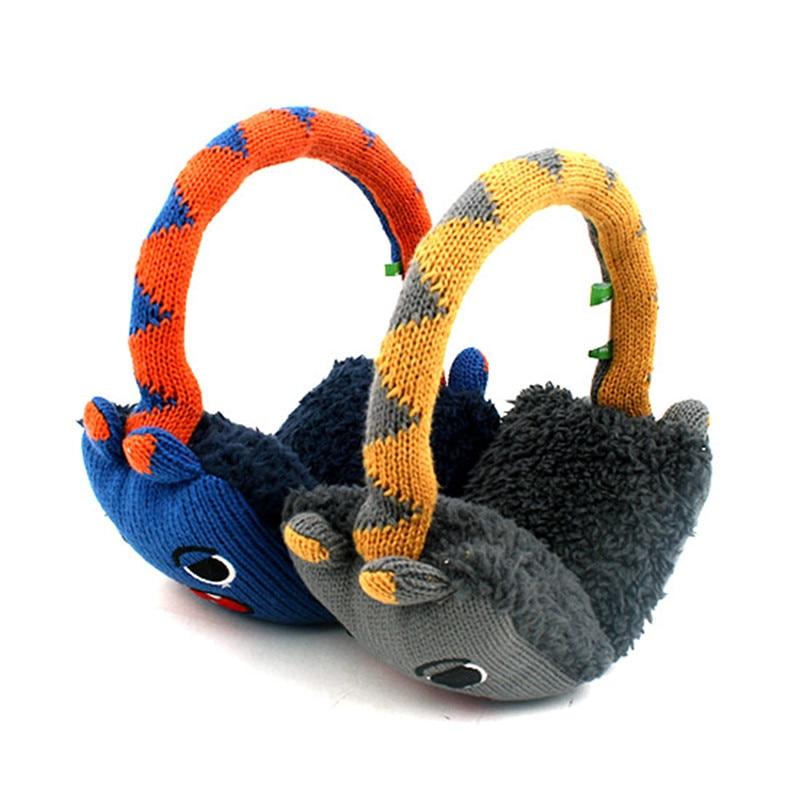 Korean Winghouse Children's Cartoon Earmuffs Winter Warm Ear Bag Adjustable Baby Boy Cute Knitting Earplug
