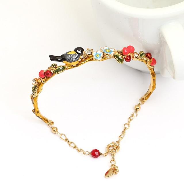 French Les Nereides Bird Flower Bracelet Bangles For Women Party Bracelet Brand Jewelry Good Quality
