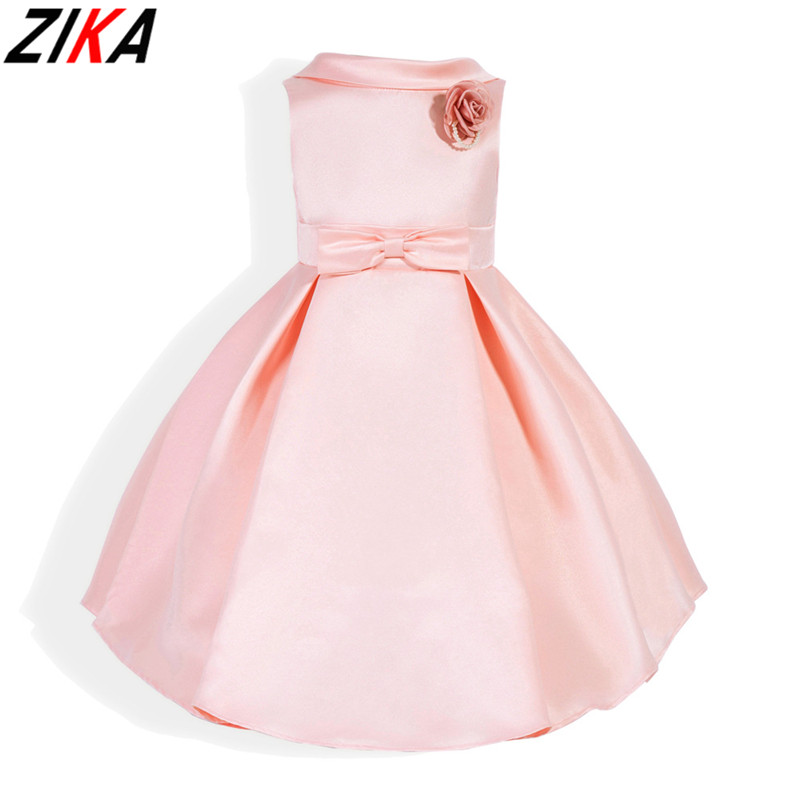 ZIKA Girls Dress 2017 New Pink Flower Kids Party Dresses For Wedding Children's Princess Girl Evening Prom Toddler Clothes 3-7T red new summer flower kids party dresses for weddings formal princess girl evening prom sleeveless girl bow mesh dress clothes