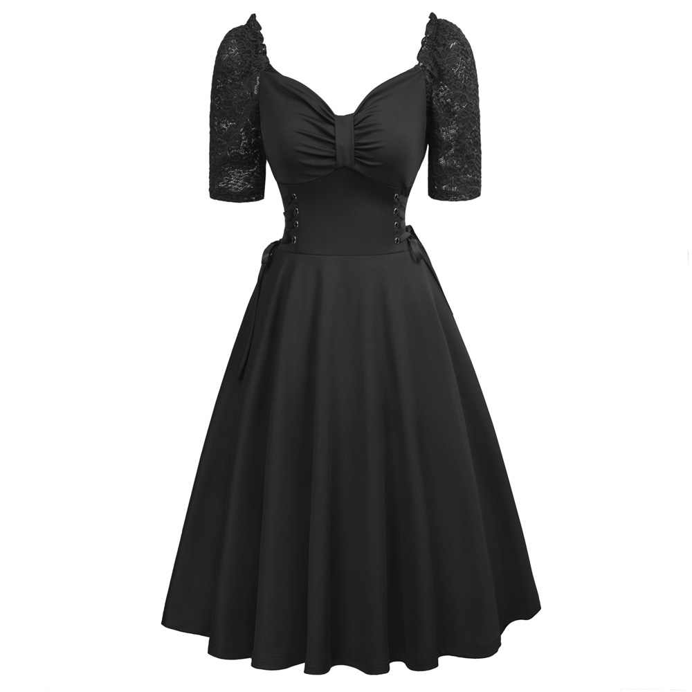 6ab79dd3679 Belle Poque Dresses Summer 2018 Black Party Dress Vintage Casual Punk  Gothic Swing Pin up Robe