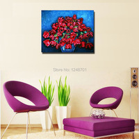 2015 Frameless Pictures Handmade Paint Oil Painting On Canvas Handwork Gift Red Tulip Vase Flower