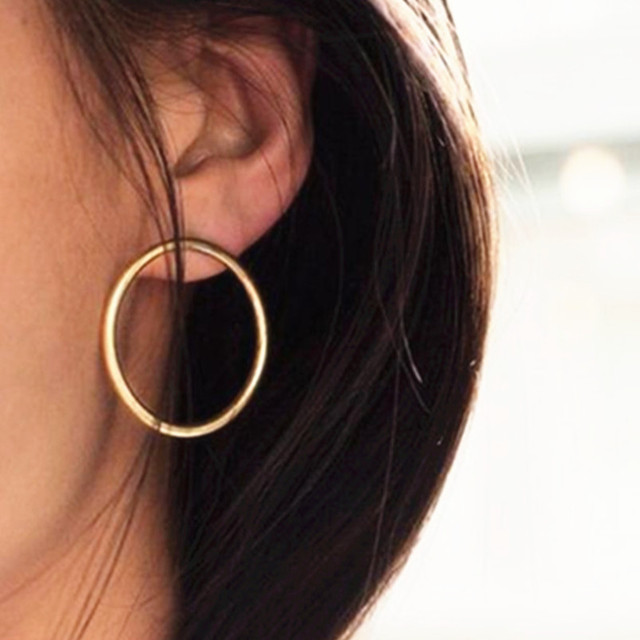 E0197 Large Hoop Earrings Stainless Steel Fashion Jewelry Gold-color Circle Roun