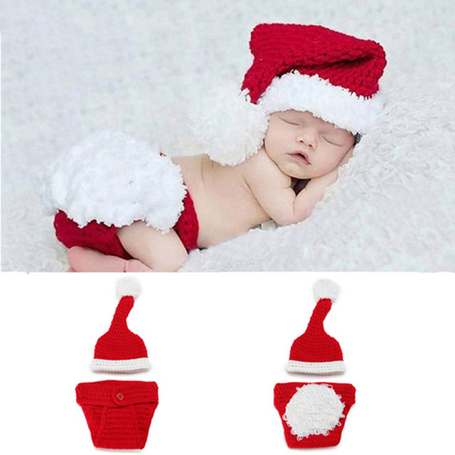 672a7b2b2 Infant Newborn photography props baby photo Christmas Cute Santa baby  clothing hat crochet outfits baby accessories