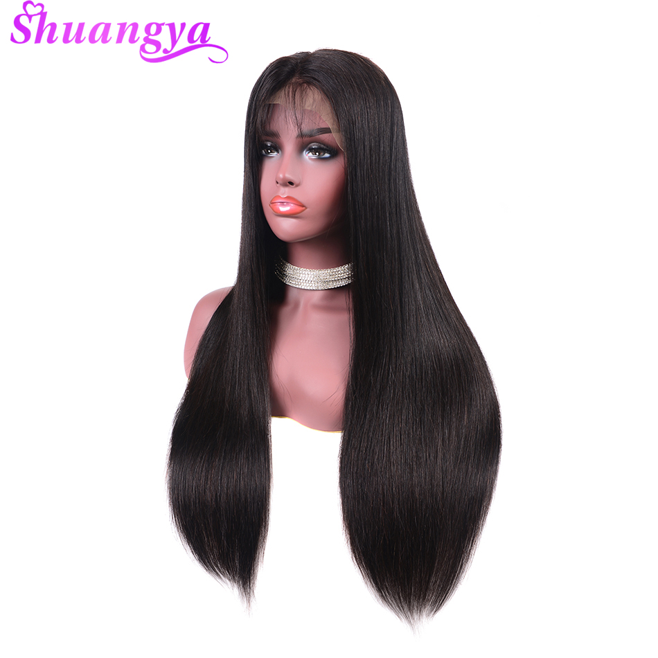 Malaysian Lace Front Human Hair Wigs Shuangya Remy Hair Straight Wig With Baby Hair Natural Hairline