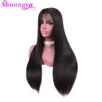 Malaysian Lace Front Human Hair Wigs Shuangya Remy Hair Straight Wig With Baby Hair Natural Hairline Full End Thick Black Color