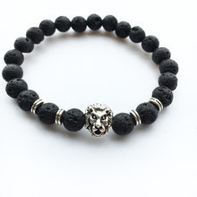 2019 New Fashion Men Black Lava Stone Gold Silver Lion Beads Bangle Charm Bangle Jewelry Fashion Luxury Casual Couple Jewelry(China)