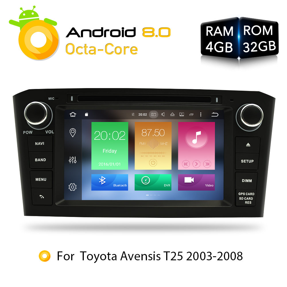 Android 8.0 4G RAM Car DVD Stereo Multimedia Headunit For Toyota Avensis/T25 2003-2008 Auto Radio GPS Navigation Video Audio цена