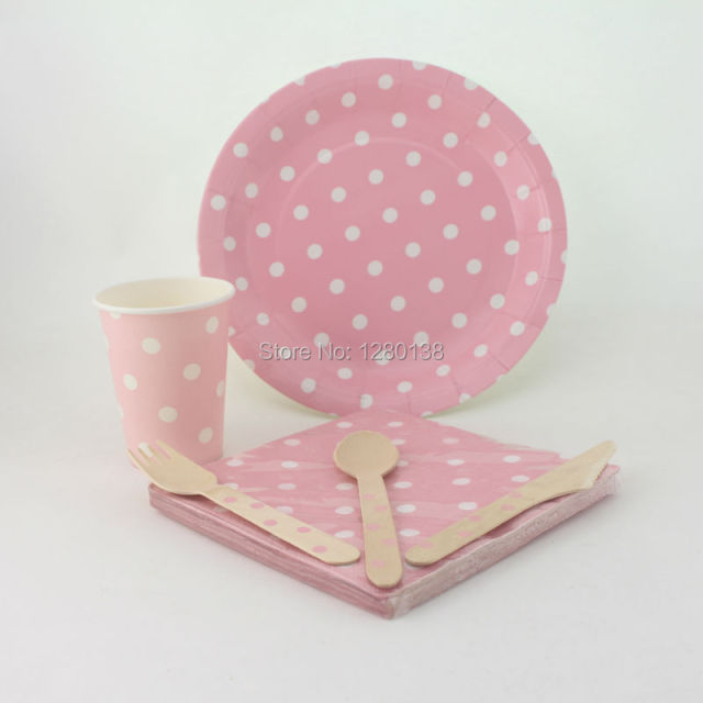 Pink Polka dot Tableware Set Wedding Baby Shower Decor Biodegradable Paper Plates Cups Napkins Bags Straws : polka dot plastic plates - pezcame.com