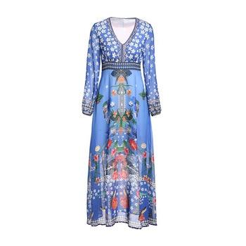 2019 Women Fashion High Waist Long Dress Round Neck Long Sleeve Slim Beach Flower Office Thin Style Ladies Dresses Spring Summer