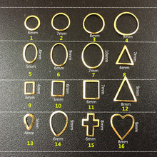100Pcs Lot Gold Frame Metal hollow Round Oval square triangle Metal Nail Art rivets stud Decorations