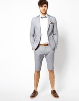 2018 Latest Coat Pant Designs light grey classic men suit for smart casual business beach prom tuxedo summer jacket+short pants