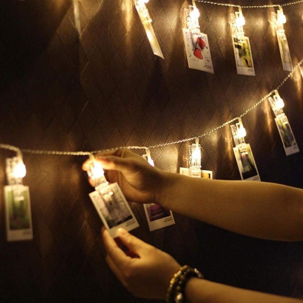 LED Garland Christmas Led String Lights 5m 20led Heart Shape Photo Clip Flasher 220V Cortina de Led Tree Wedding Decoration