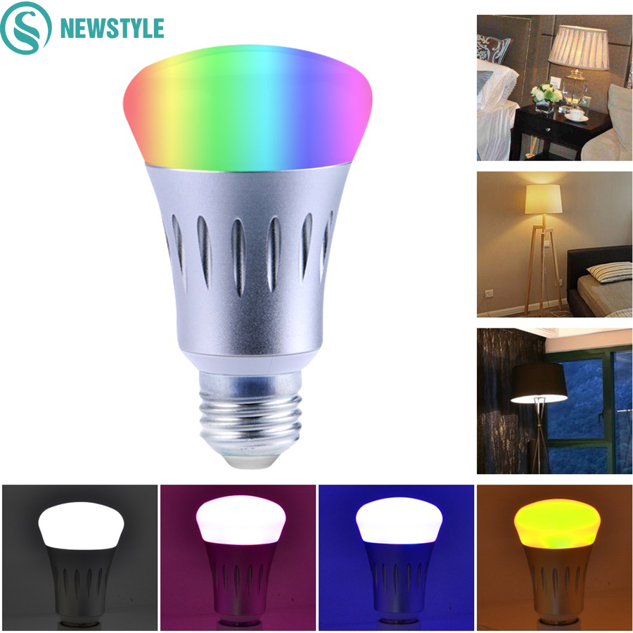 7W E27 WIFI Smart LED Bulb RGB+White Dimmable Support IOS/Android APP Control LED Lamp smart dimmable mushroom led bulb household intelligent lighting rgb e27 600lm ac85 265v switchable for ios and android