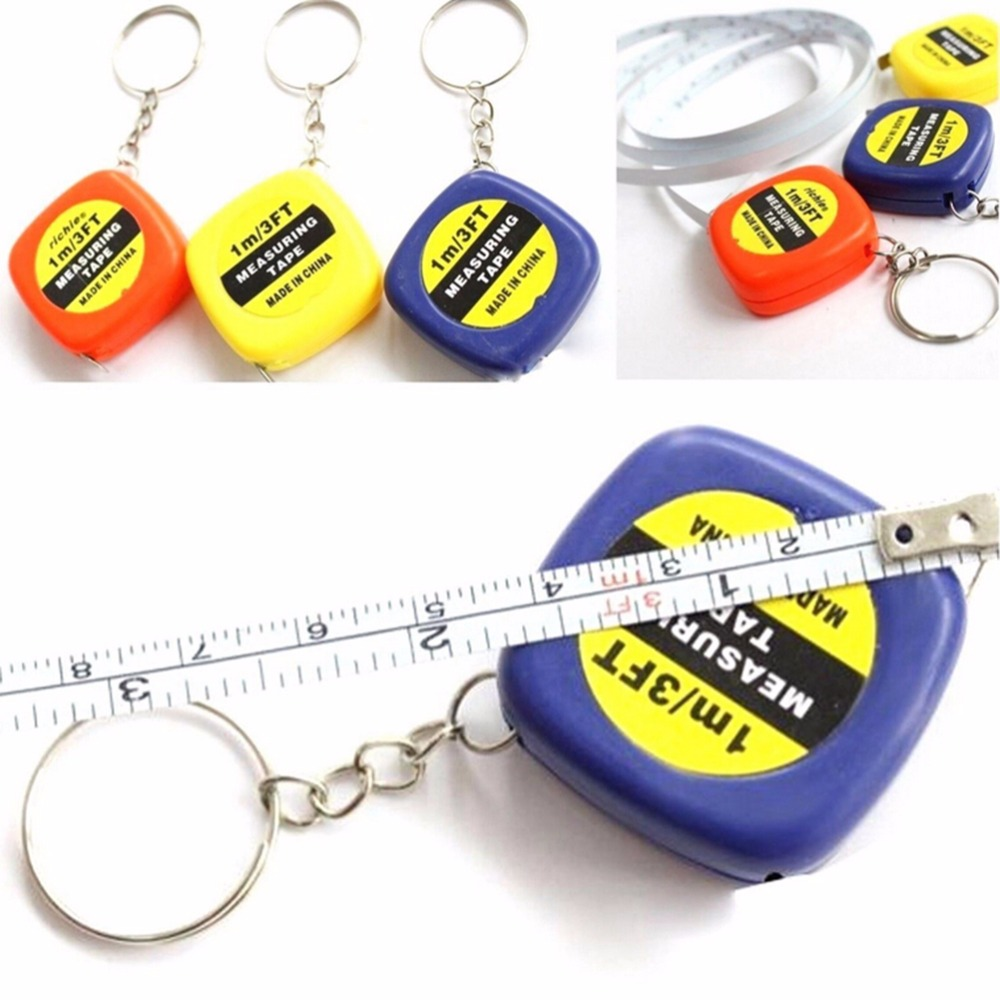 Easy Retractable Mini Measuring Tape New 1PCS Cute 1 Meter Color Random Keychain Keyring Tool Portable Pull Ruler Keychain 1pc keychain pocket mini pliers keyring keychain metal adjustable mini vise tool