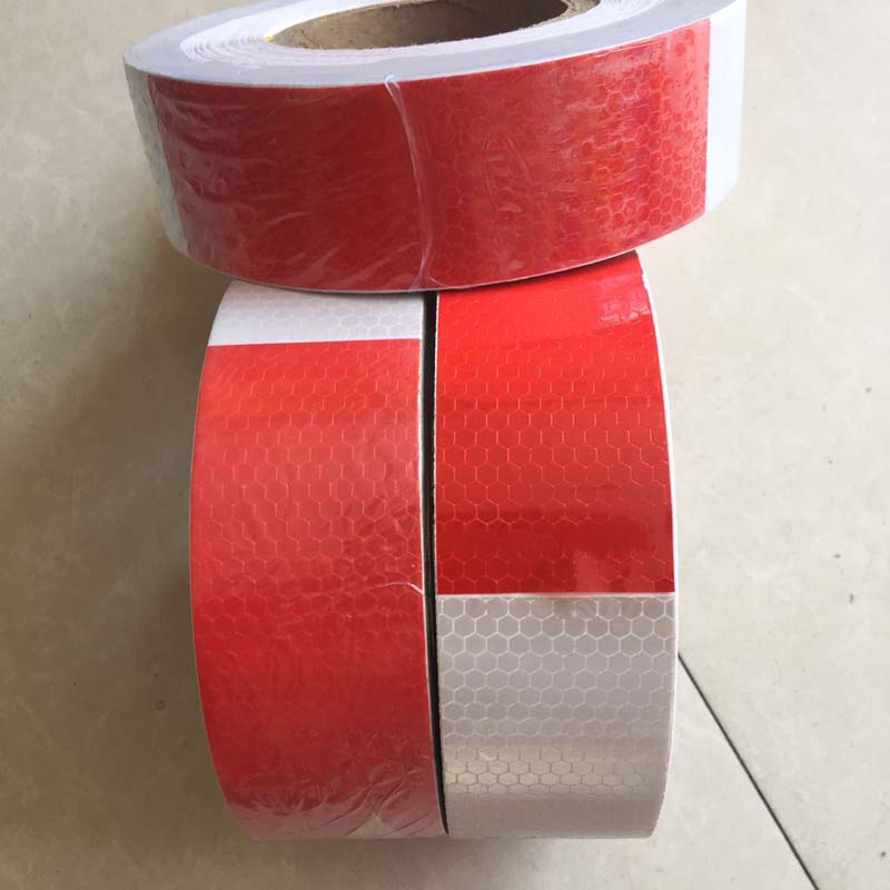 5*350CM Red and white reflective strips for cars trains trucks road traffic facilities reflective signs warning reflective film