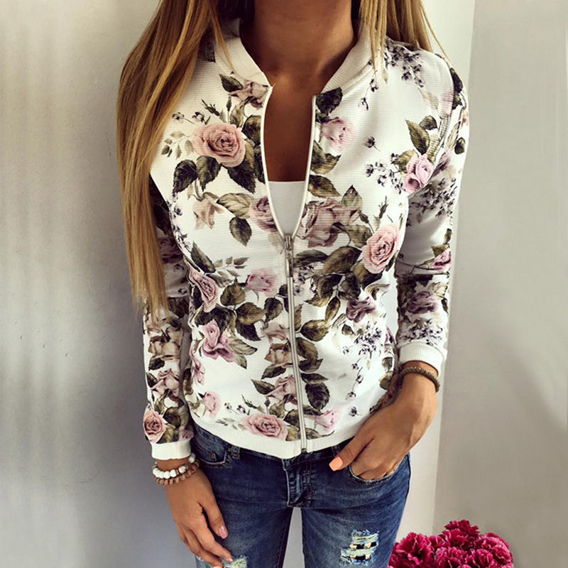 New Spring Autumn Floral Print Coat Women   Jackets   And Coats Long Sleeve Casual Slim Fit   Jacket   Zipper   Basic   Outerwear Coats