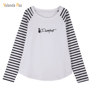 Yolanda Paz T Shirt Women 2019 New Classic Striped Slim T-shirts O-Neck Long Sleeve Cats print women four seasons ok T shirts