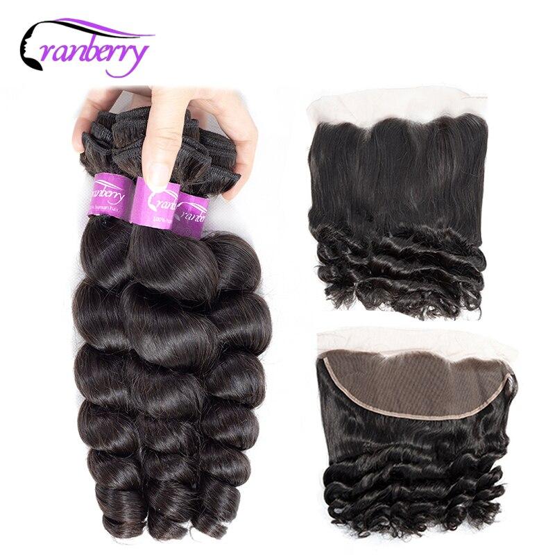Cranberry Loose Wave Peruvian Hair Bundles With Closure 100 Remy Hair Bundles With Closure Ear To