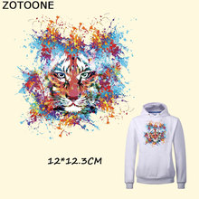 ZOTOONE New Animal Pattern Multicolor Lion Patch 12*12.3CM Patches for Clothing Diy T-shirt  A-level Thermal Transfer Sticker C