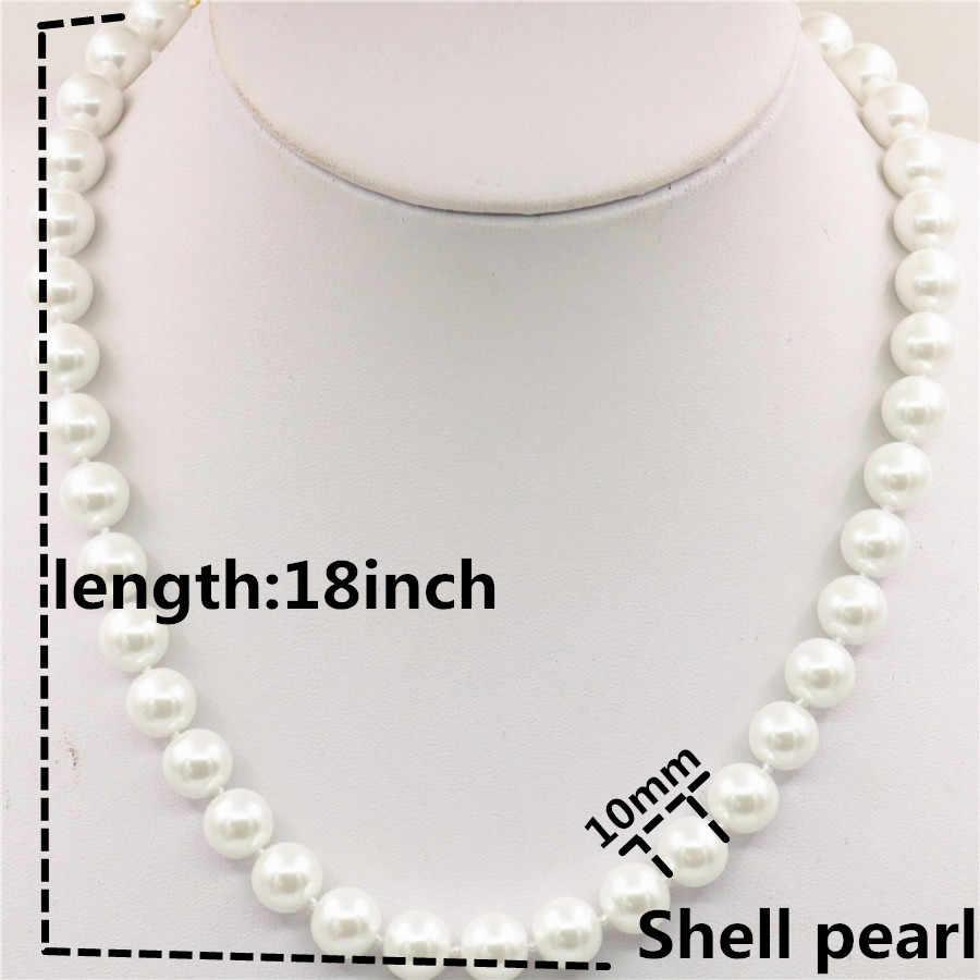 แฟชั่น Charming 8 มิลลิเมตรสีขาว Akoya Shell Pearl สร้อยคอต่างหู DIY AAA เกรด Hand Made เครื่องประดับชุดของขวัญสำหรับสาวผู้หญิง W00105