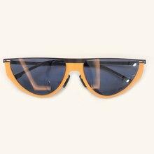 Semi Circle Rimless Sunglasses Women Men 2019 Retro Small La