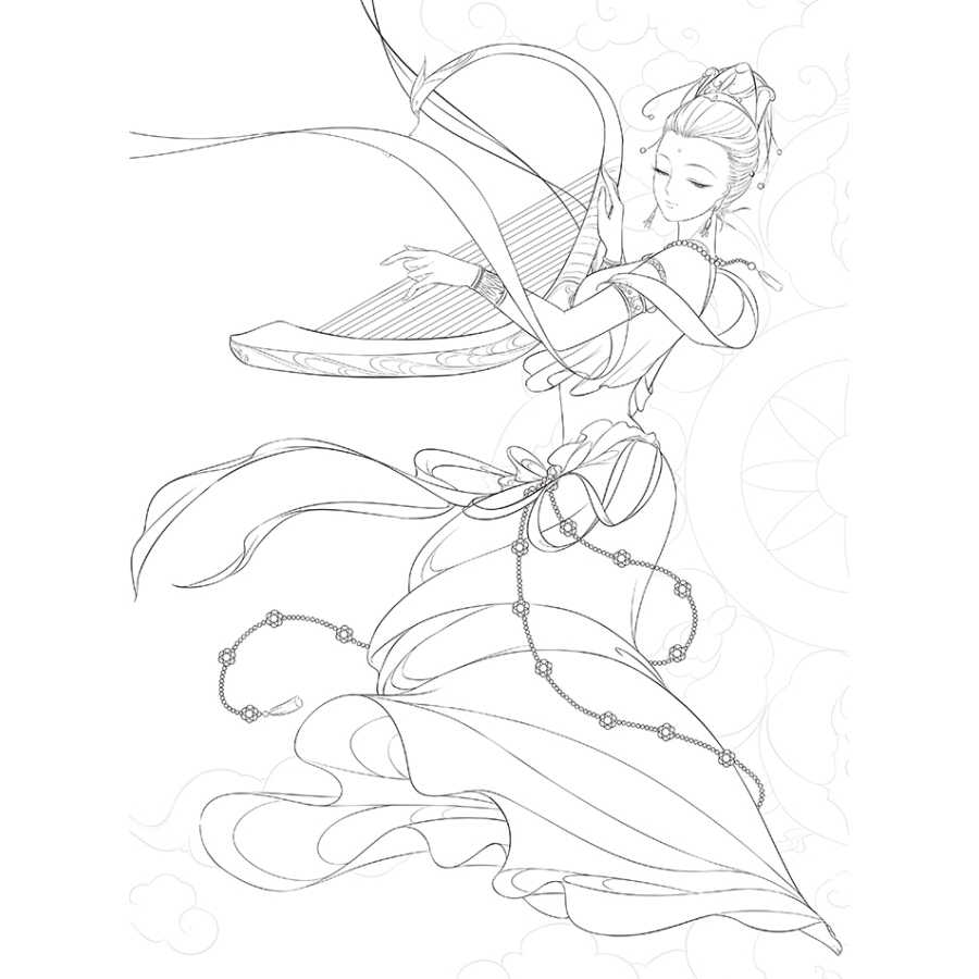 Coloriage Anti Stress Danse.Coloriage Livre Adulte Enfants Chinois Belle Peinture Ancienne Couleur Dessin Au Trait Livre Danse Volante Chanson Dunhuang