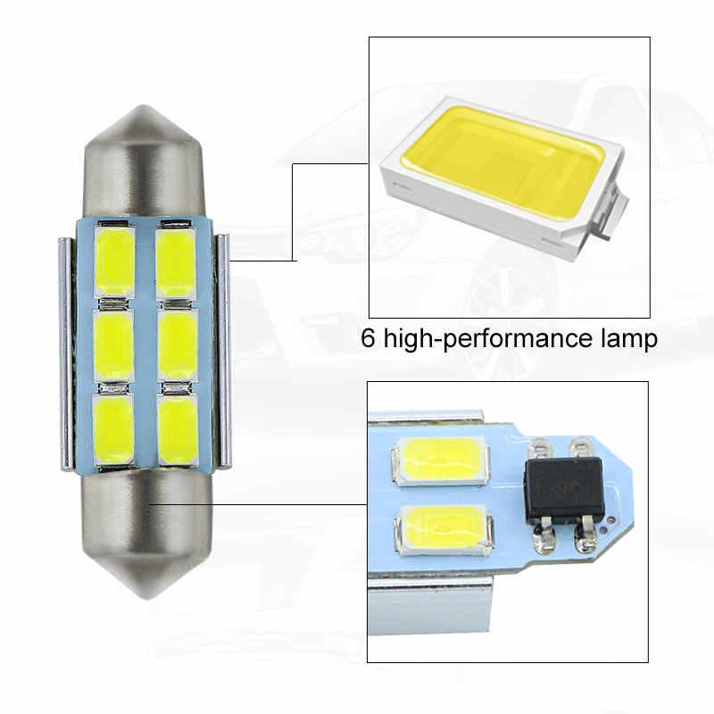 Pasangan 36 Mm C5W Putih Cerah LED Festoon Putih Lampu Plat Nomor Lampu untuk Ford Focus 2005 -2007
