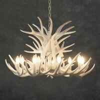 White Antler Lamp In Pendant Chandelier 4/6/9 Arms E14 Socket Chandelier Living High Quality Natural Resin Desinger's Choice