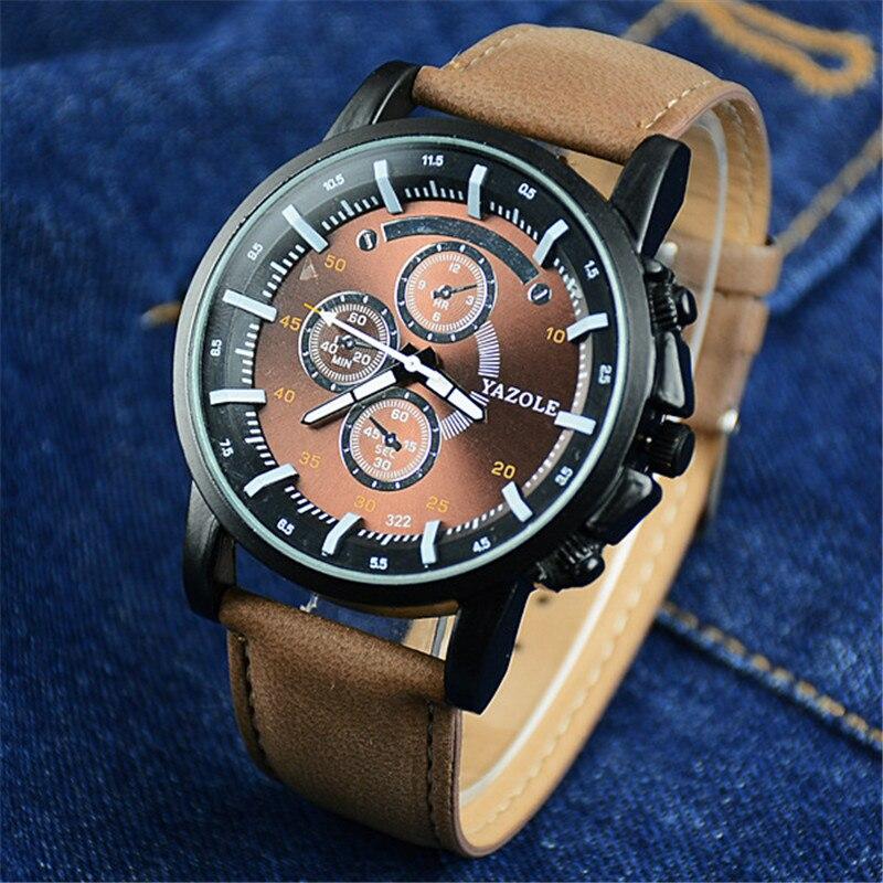 2016 YAZOLE Luxury Brand Quartz Watch Casual Fashion Leather Watches Reloj Masculino Men Free Shipping Business Wristwatch C25 цены в интернет-магазинах